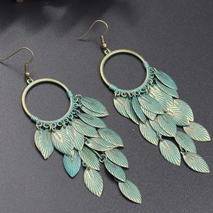 BOGO! Bronze Patina Leaf Drop Earrings Boho